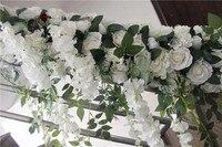 SPR Бесплатная доставка дорога привести арки и ряда цветы 2 м/лот Свадебные украшения цветок стены фон Таблица Центральным flore