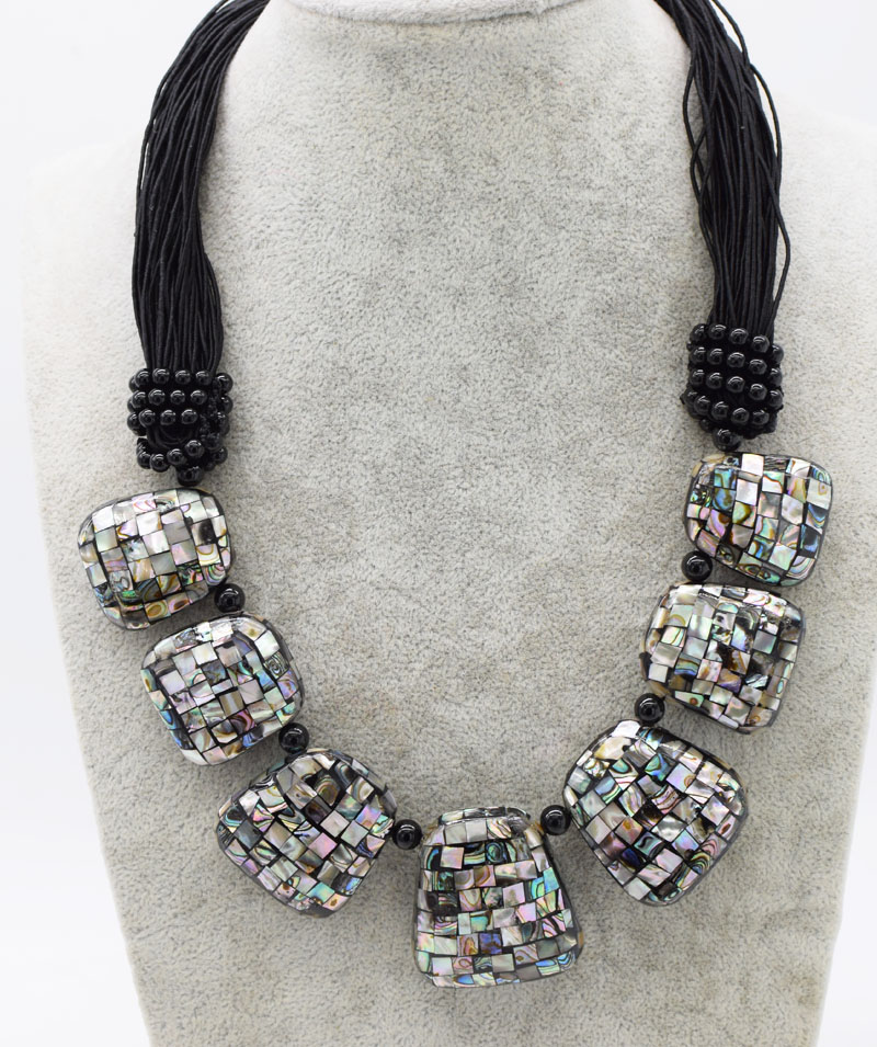 abalone shell square  28-35*30-40mm necklace 21inch FPPJ wholesale beads nature abalone shell square  28-35*30-40mm necklace 21inch FPPJ wholesale beads nature