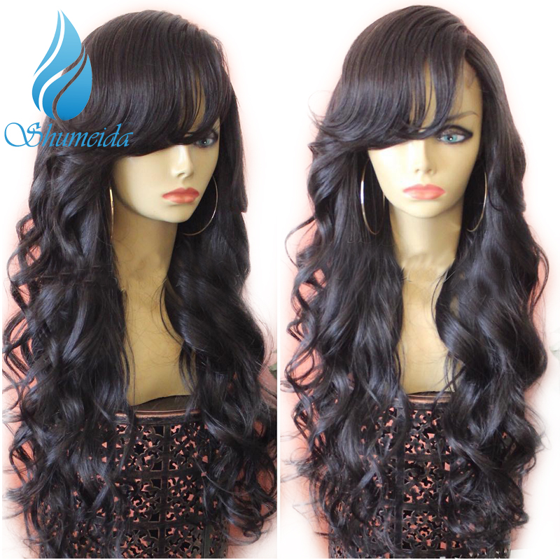 SHUMEIDA Malaysian Lace Front Wigs with Bangs Body Wave Remy Human Hair Wigs with Baby Hair