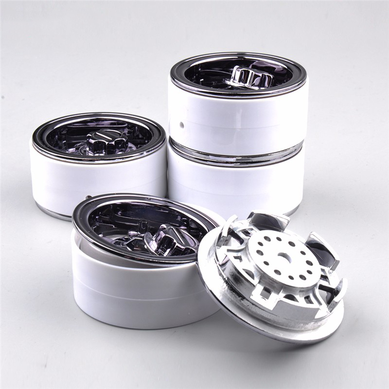 1 10 Scale Aluminum Wheel Hub Model Toys White Color RC Car Model Toy Accessories 4pcs