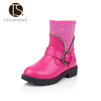 2016 New Fashion Genuine Leather Big Girls Boots Winter Zip Crystal Children Shoes Martin Boots Kids