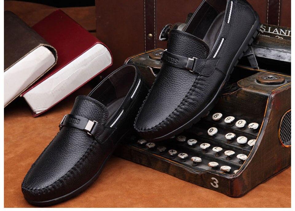 ef6546d31 جلد طبيعي الصيف أحذية الرجال الشقق المتسكعون تنفس عارضة Chaussure أوم حقيقي  جلدي الرجال الأخفاف أحذية كبيرة الحجم