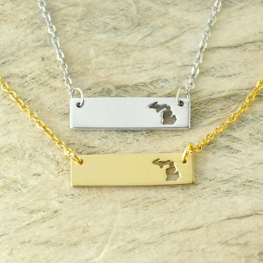 Michigan Bar Necklace Cut Out Map Necklace Alloy State Necklace Map Charm Custom Map State Pride Bar Necklace