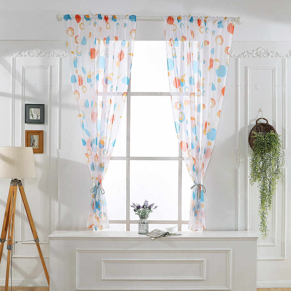 2019 New Arrival Window Curtains Leaves Sheer Curtain Tulle Window Treatment Voile Drape Valance 1 Panel Fabric Voile Curtain
