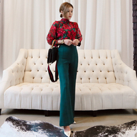 Fashion 2 Pieces Set Women Lace Up Floral Print Blouses Shirts & Green Flare Pant Female Vintage OL Sets 2018 Autumn