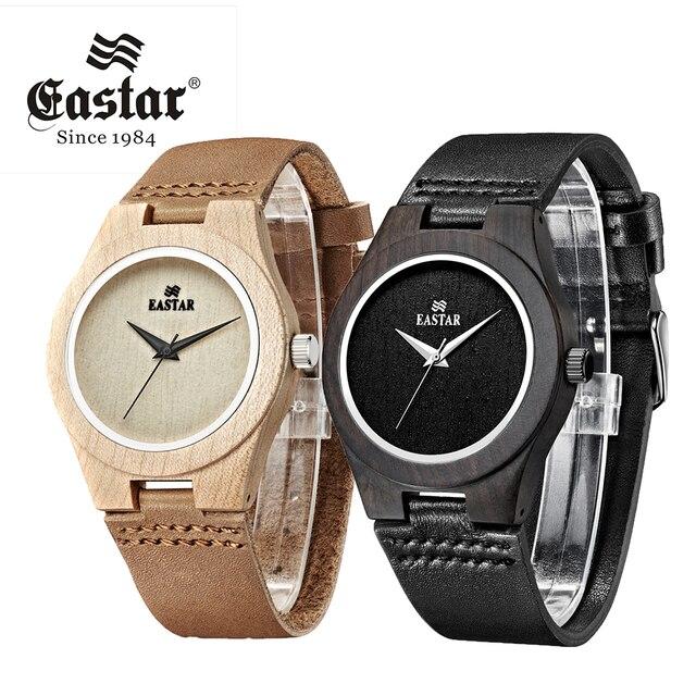 Eastar Wood Watch Women Lightweight Round Wrist Watch Luxury Brand Wooden Quartz Watches