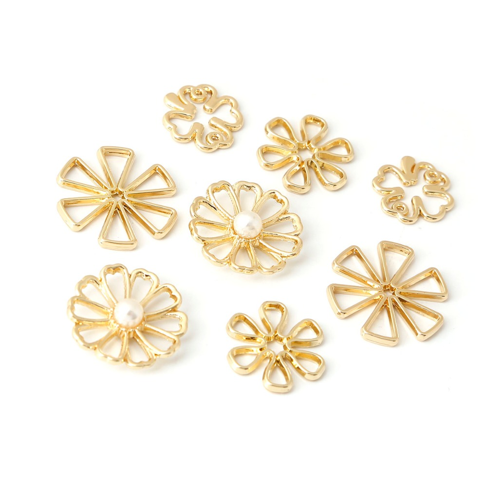 10Pcs/Lot Gold Hollow Flower Connector 12 14 16 18mm Alloy Charms Pendant for Earring Material Jewelry Supplies Findings