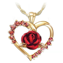 2019 Fashion Rose Flower Pendant Necklace Women Crystal Charms Heart Wedding Valentine Gifts Ladies Jewelry