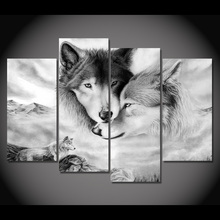 HD Printed Modern Canvas Living Room Pictures 4 Panel Wolves Snuggle Together Frame Painting Wall Art Modular Poster Home modular pictures home wall art modern game poster hd printed 5 pieces canvas art overwatch role painting decorative framework