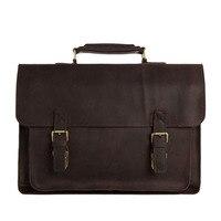 Cool Men Tote Genuine Leather Brown Shoulder Bag Messenger 15 Laptop Briefcase 7205