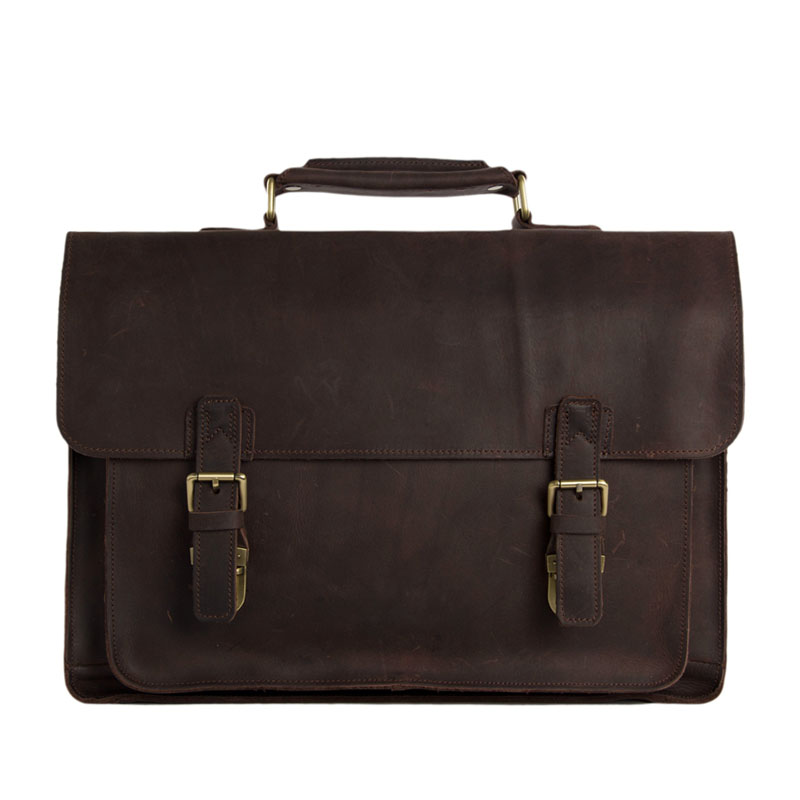 Raffreddare Uomini Tote del cuoio Genuino Brown Shoulder Bag Messenger 15