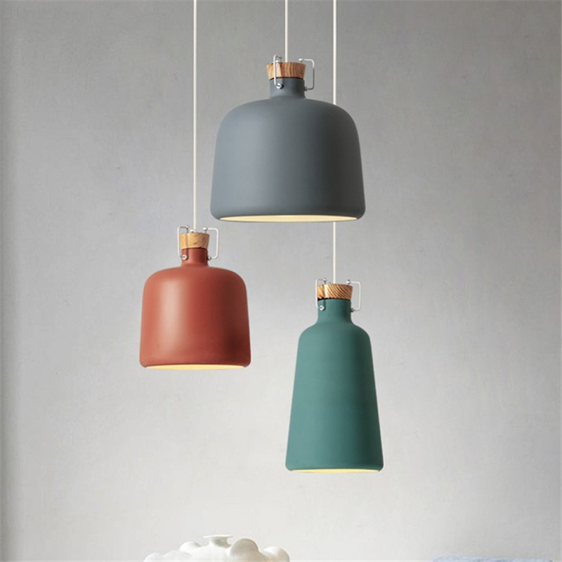 Nordic Hanglamp Modern LED Pendant Light Aluminum Wood Lamp Color Dining Room Lights Loft Deco Home Pendant Lighting Fixtures цена