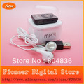 Hot Sell 100pcs/lot Fashion Christmas Gift Mini Mirror Clip Sport MP3 Music Player With Earphone&Mini USB&Box Free DHL OR EMS