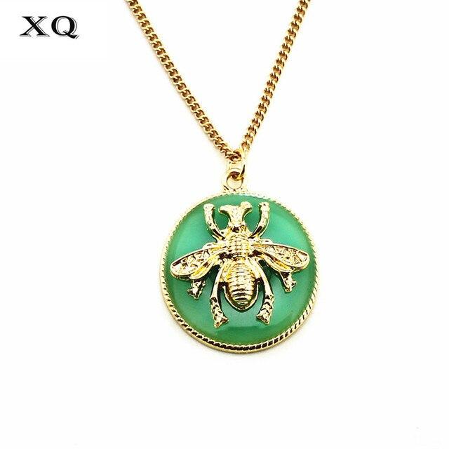 XQ xq Free shipping 2015 European and American fashion jewelry brand bee round drop glaze green short necklace woman