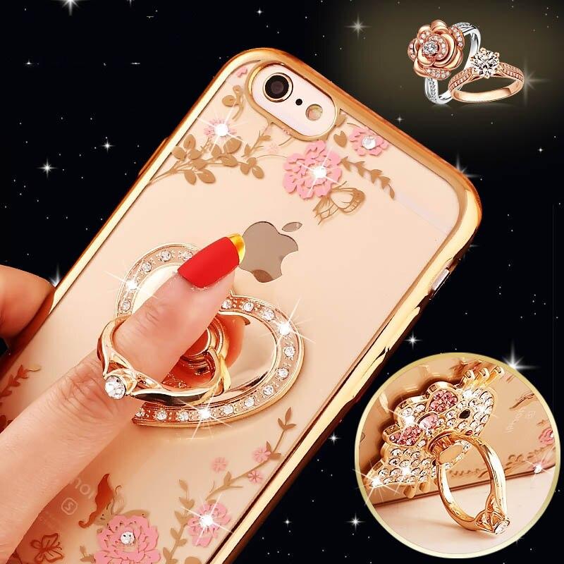 Bling Diamond Case for Samsung S5 S6 S7 Edge S8 Note 3 4 5 for iPhone 5s 6 6s 7 Plus Finger Ring Kitty Peacock Holder Phone Case
