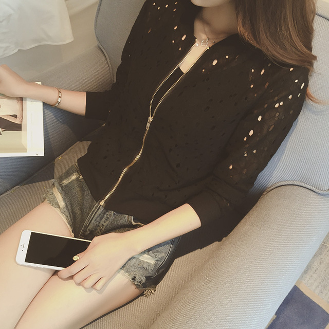 Fashion Hot 2021 New Women Casual Basic Autumn Spring Style Lace Chiffon Jacket Top Zipper Coat Full Sleeve Blusas Hollow out 4