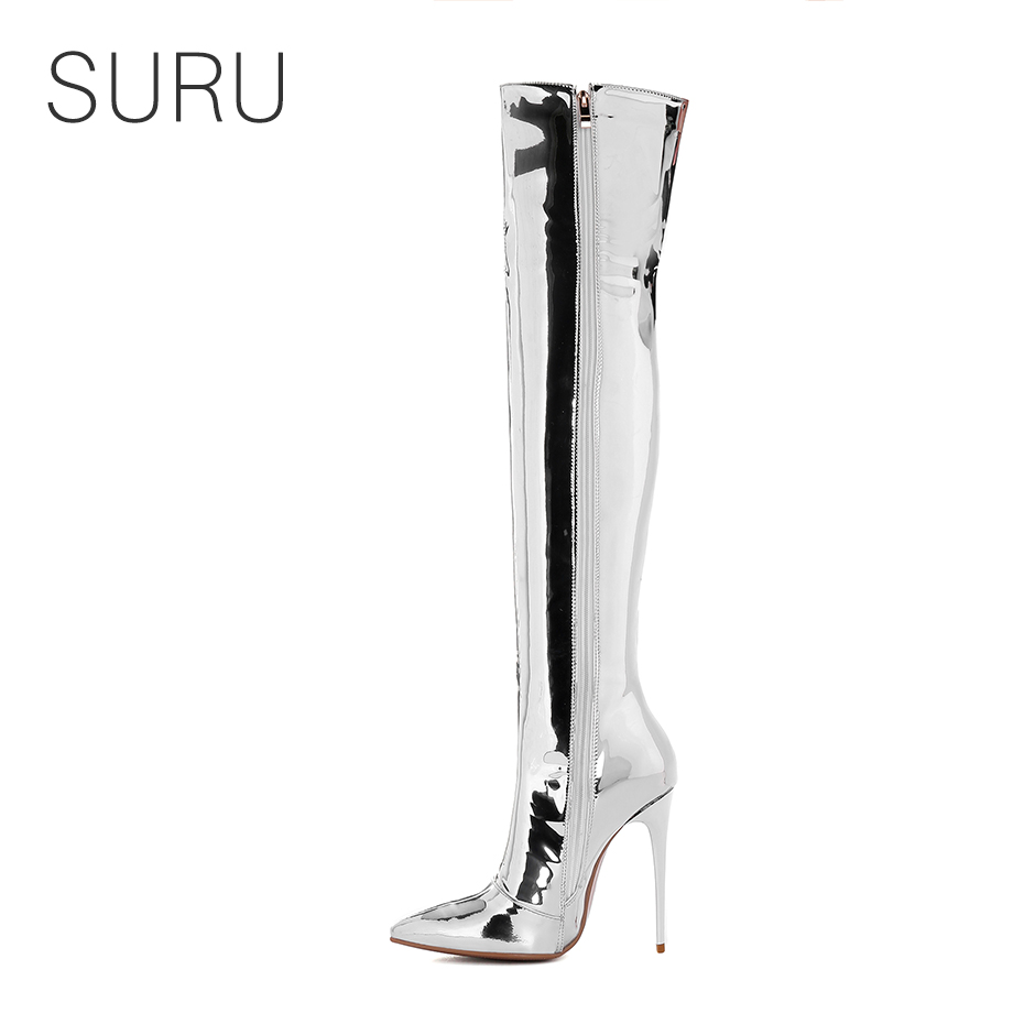 SURU 5 Inches Stilettos Shining Silver Side Thigh Boots Women Pointed Toe Over The Knee High Long Boots Plus Size US 10 11 9 side bowknot embellished plus size sweatshirts page 9
