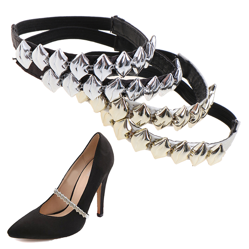 1Pair Fashion Sexy Metallic Lips Charm Shoes Band For Women Shoes Decorations
