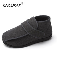 Hot new high help warm men's shoes with wide shoes feet wide feet and swollen feet adjustable blind date comfortable safety