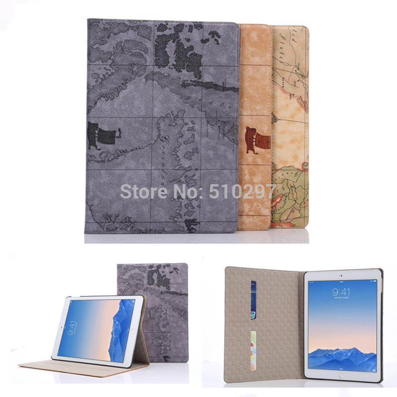 HOT Nautical maps pattern PU leather stand case For Apple ipad air 2 cover for ipad6 Card holder case For ipad air2 ipad 6