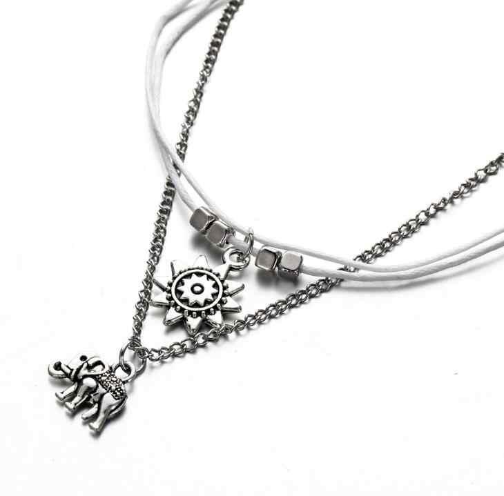 Vintage wielowarstwowe obrączki dla kobiet słoń słońce zawieszki charms Rope Chain plaża lato Foot bransoletka na kostkę biżuteria