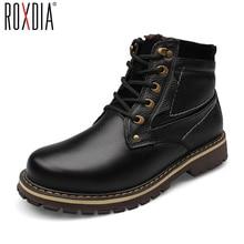 ROXDIA New Fashion Genuine Leather Men Ankle Boots Warm Winter Snow Warm Men's Boot Lace Up Men Shoes Plus Size 39-50 RXM428