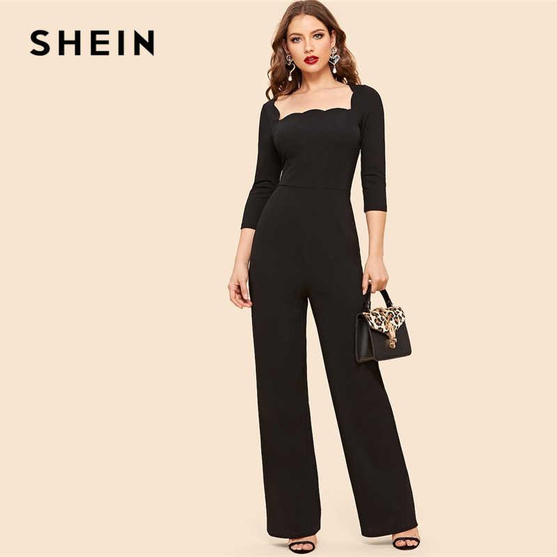 563e168f08d SHEIN Vintage Black Scallop Square Neck Wide Leg Jumpsuit 2019 Women Mid  Waist Long Trouser Highstreet