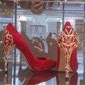 Zapatos cristalinos de La Boda Bombas de Las Mujeres Zapatos Negro Rojo tacones Altos de Cuero Zapatos Mujer Tamaño 42 Señoras de La Manera del dedo del pie Puntiagudo Zapatos de Un Solo