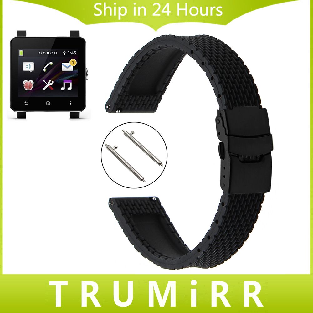 24mm Quick Release Silicone Rubber Watchband + Tool for Sony Smartwatch 2 SW2 Suunto TRAVERSE Watch Band Wrist Strap Bracelet for suunto essential high quality milan stainless steel watchband 24mm two types watch strap for suunto core traverse bracelet