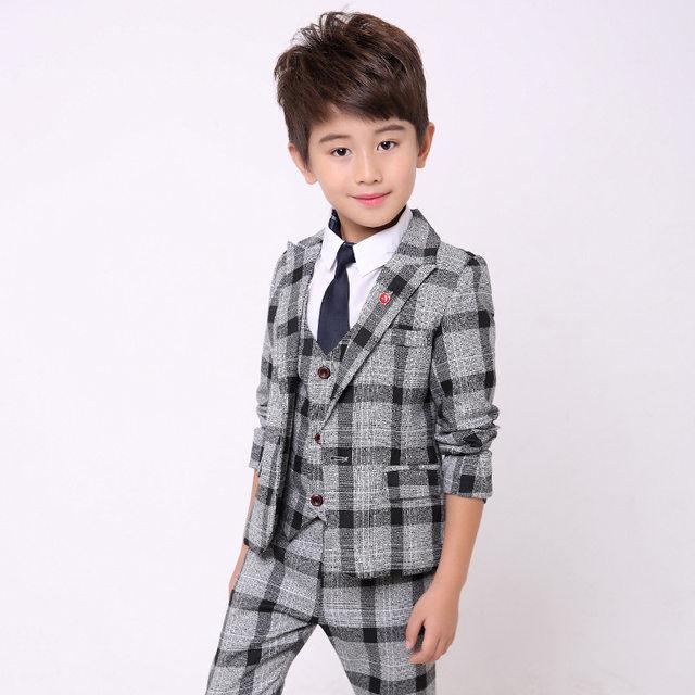 Online Shop Boys Suit for Wedding Kids Tuxedo Suits Fashion Plaid ...