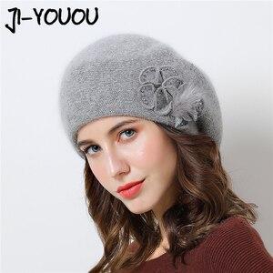 Image 1 - שכבה כפולה עיצוב חורף כובעי נשים כובע ארנב פרווה חם סרוג כובע גדול פרח כובע בימס 2018 כובעים חדשים