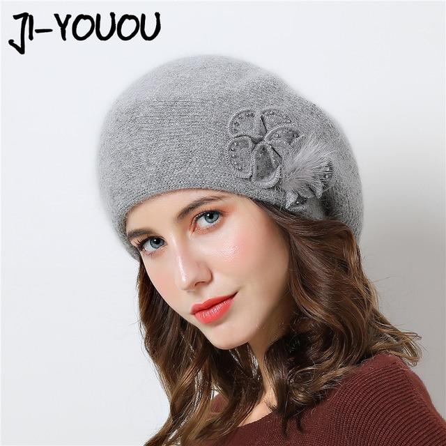 שכבה כפולה עיצוב חורף כובעי נשים כובע ארנב פרווה חם סרוג כובע גדול פרח כובע בימס 2018 כובעים חדשים