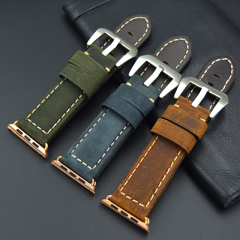 High Quality Blue green retro brown Color Genuine Leather 38/42MM Width For Apple Watch Strap Band For iwatch men women Watches