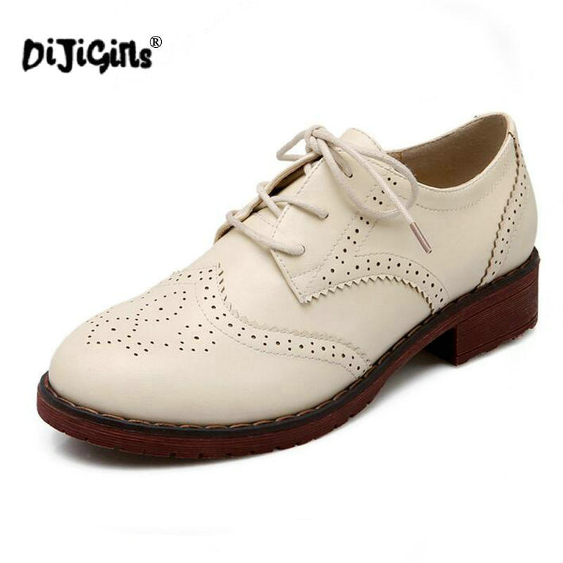 dirt cheap best quality top fashion US $21.49 50% OFF|DIJIGIRLS Flats British Style Oxford Shoes for Women Soft  Leather Retro Brogues Women Oxfords Flat Heel White Casual Shoes-in ...