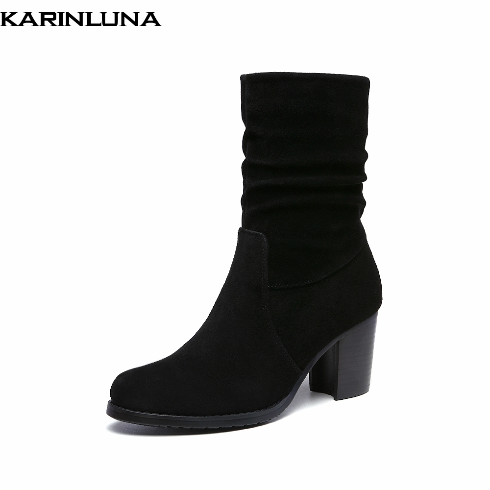 KARINLUNA new arrivals top quality cow suede genuine leather high heels western Boots Women Shoes retro slip on Woman BootsKARINLUNA new arrivals top quality cow suede genuine leather high heels western Boots Women Shoes retro slip on Woman Boots