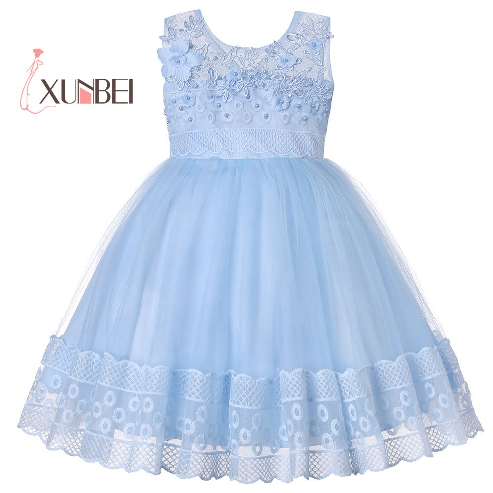 Lovely Princess Knee Length   Flower     Girl     Dresses   2019 Lace Beading Kids Pageant   Dresses     Dress   Elegant   Girls     Dresses   For Party