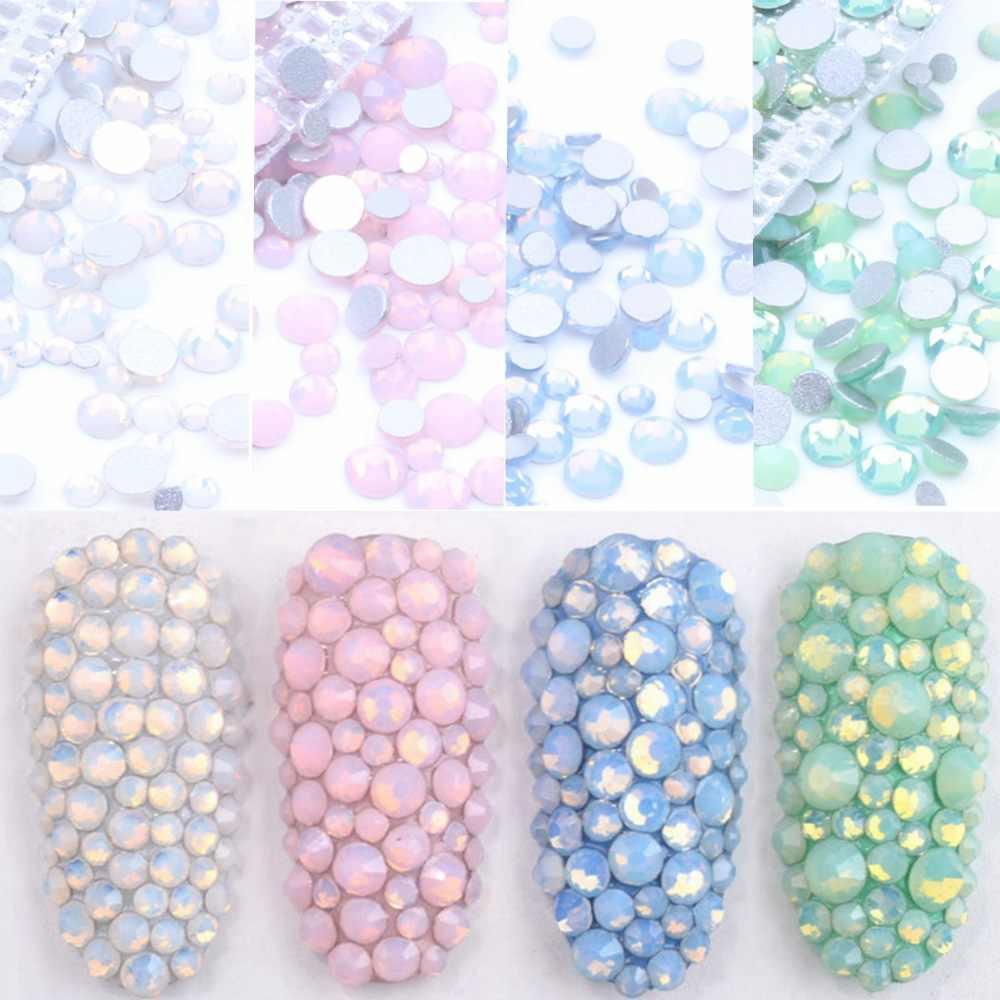 350 pièces 5 grammes taille mixte ss3-ss30 bleu/vert/rose/blanc opale 3D cristal ongles Art strass, Flatback verre Nail art décoration