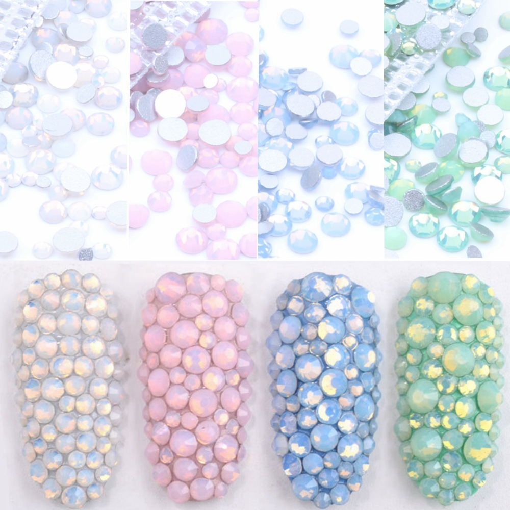 350pcs 5Gram Mixed Size Ss3-ss30 Blue/Green/Pink/White Opal 3D Crystal Nails Art Rhinestone,Flatback Glass Nail Art Decoration