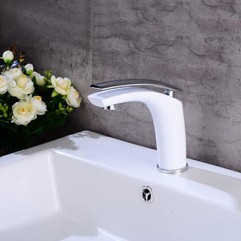 Robinet d'évier de vanité de salle de bains mitigeur monotrou monté, mitigeur de lavabo en laiton blanc fini - 3