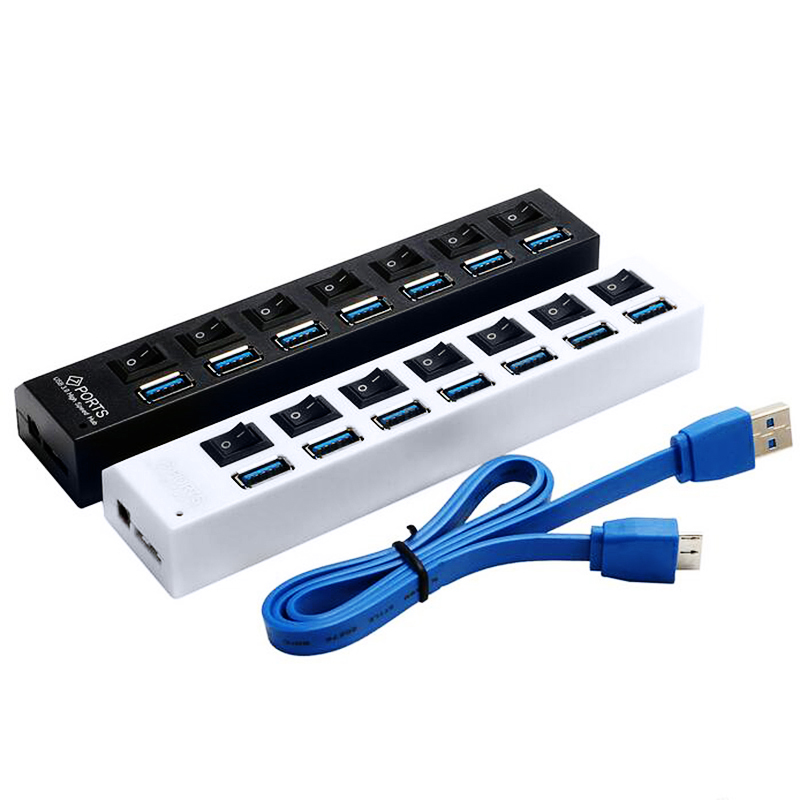 Super speed 5gbps 7 ports led usb 3 0 hub splitter with on off switch for pc laptop computer - Usb 7 port hub with power switches ...
