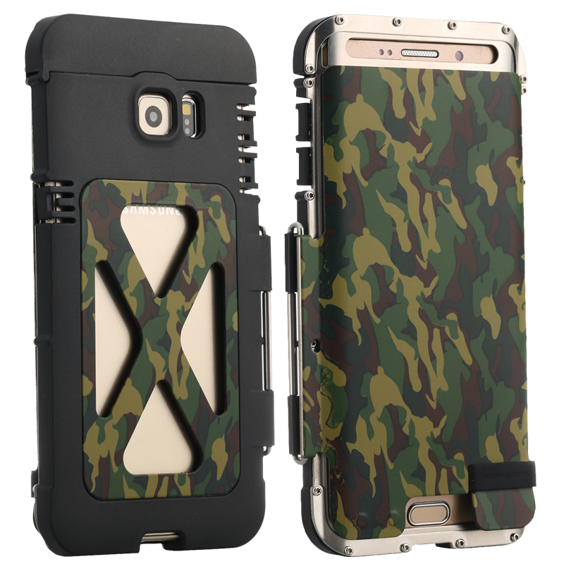 imágenes para Ejército de Camuflaje Caso Del Tirón Del Teléfono para Samsung s6 edge plus R-JUST Iron Man Caja Del Teléfono de Acero Inoxidable. Armor King caso a prueba de golpes