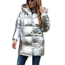 Winter Jacket Women silver fabric  Hooded thick Outerwear Bright metallic color warm parkas