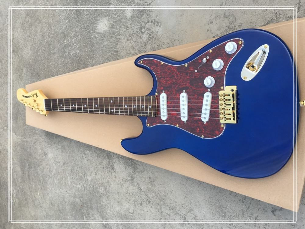 En stock! Guitare électrique personnalisée offre spéciale guitare électrique bleue, matériel doré, livraison gratuite! Chine boutique sur mesure faite