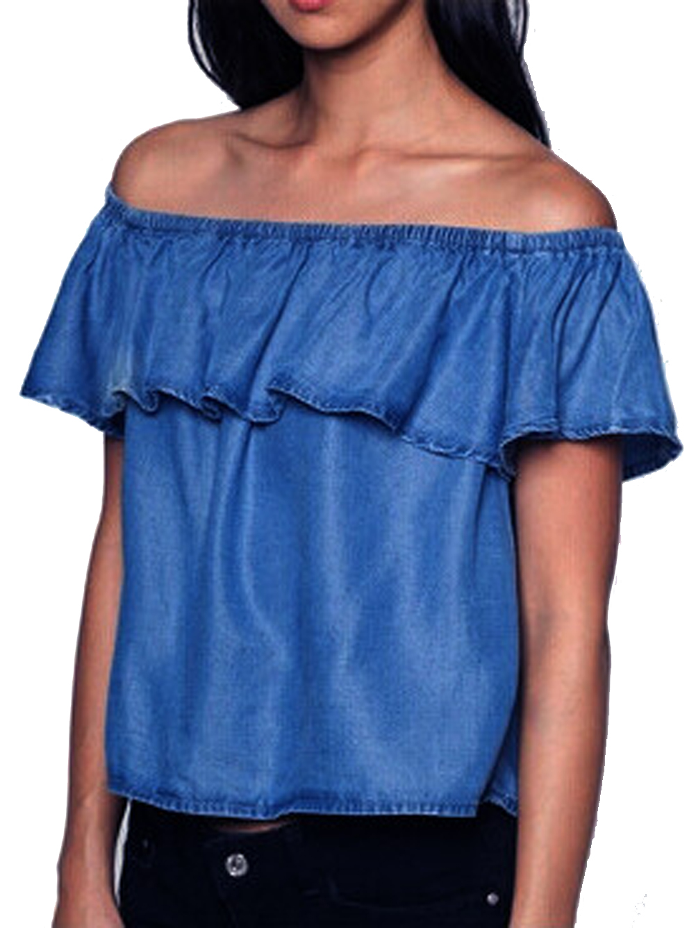 buy off the shoulder blouse ruffle jean