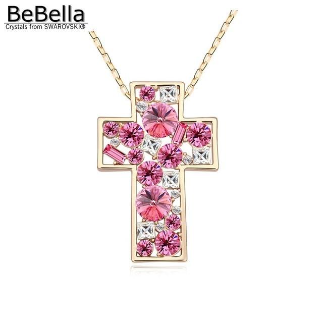 9f11bab515e BeBella gran cruz colgante collar cristal collar largo para las mujeres  hecho con cristales de Swarovski