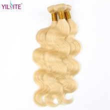YILITE 613 Blonde Mongolian Remy Human Hair Bundles 1PCS Pure 613 Color Body Wave Hair Weft 8inch-30Inch Hair Extension No Smell pure blonde clip in soft wave hair extension 3pcs