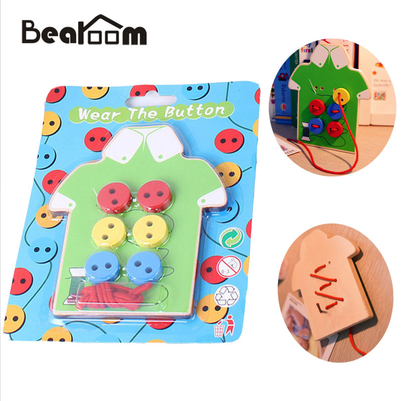 Bearoom Wooden Toy Puzzle Kids Educational Toys Funny Beads Lacing Board Puzzles Game Early Education Teaching Development