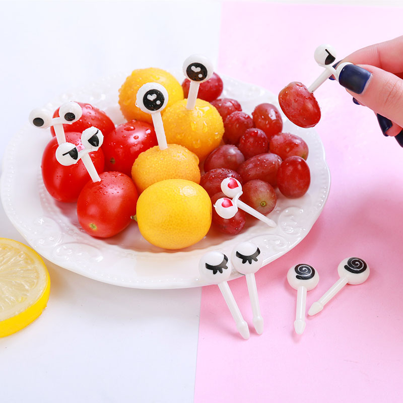 Outdoor Tablewares 10 Pcs/set Mini Fruit Forks Cartoon Eye Toothpick Children Snack Dessert Cake Fork Bento Food Picks Outdoor Camping Picnic Tools Sports & Entertainment