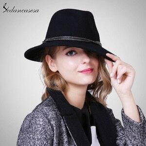 Image 3 - Sombrero Fedora para mujer, de lana, de alta calidad, de Australia, sombreros de fieltro para mujer, Otoño Invierno, mantiene el calor, sombrero Fedora de ala ancha, FM087004