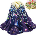 Hot selling Women Butterfly Printed Flower Soft Muffler Chiffon Scarf Wrap Shawl